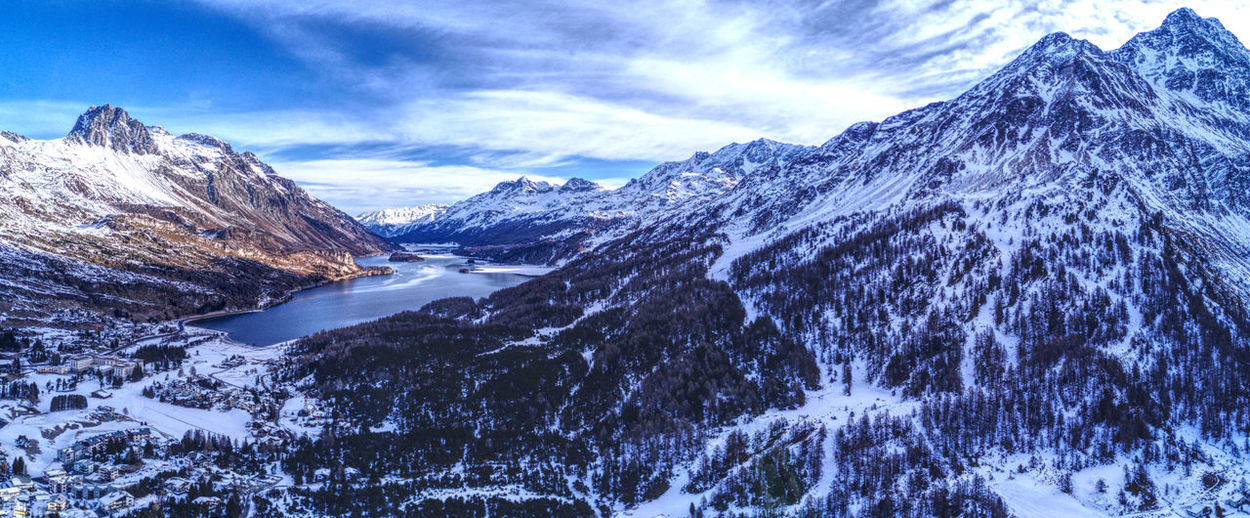 Drone  Panorama Aerial Photography Beauty In Nature Cold Temperature Day Dronephotography Engadin Landscape Mountain Mountain Range Nature No People Outdoors Scenics Snow Snowcapped Mountain Winter