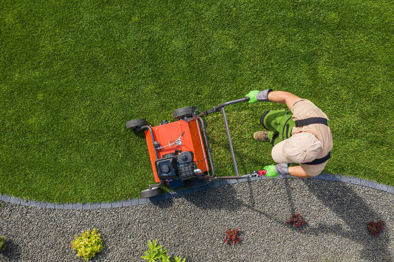 High angle view of man working on grass