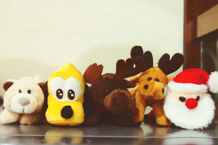 Everything In Its Place Friends Forever Bff Cute Magnets Christmas Spirit Deer Moose Santa Baby Santa Bear Pluto Toys Mini Dolls Animals Mini Plushies KAWAII Cute Disney Characters Disney Pluto Cute Pose Look At Camera