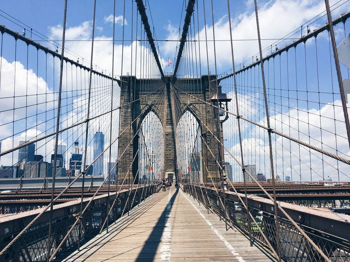 Brooklyn Bridge NY Architecture Attraction Big City Bridge - Man Made Structure Brooklyn Brooklyn Bridge  Built Structure City Connection Day Engineering Landmark New York No People NYC Outdoors Sightseeing Sky Steel Cable Suspension Bridge Tourism Travel Destinations