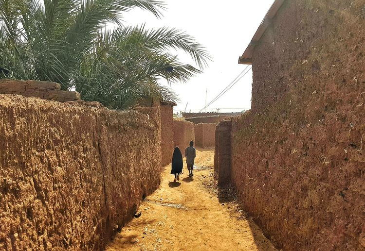 Rear view of sibling walking in alley amidst houses