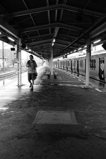 Train Train Station Railroad Station Platform Real People Architecture Full Length Built Structure One Person Walking Men Transportation