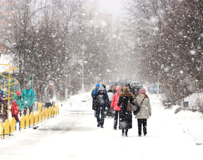 People Walking On Road During Snowfall