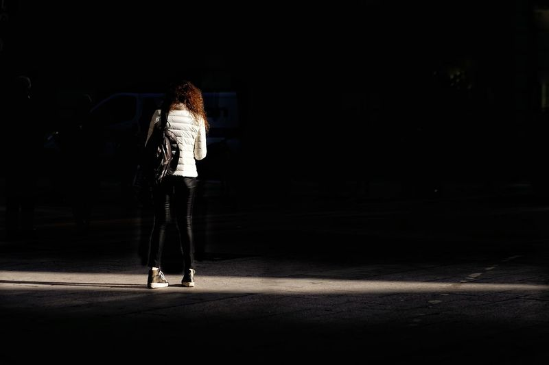 Streetphoto Streetphotography Candid Candid Photography Light And Shadow Street Photography Shadows & Lights Full Length Black Background Sport Young Women Chiaroscuro  Focus On Shadow Long Shadow - Shadow Shadow Pavement Casual
