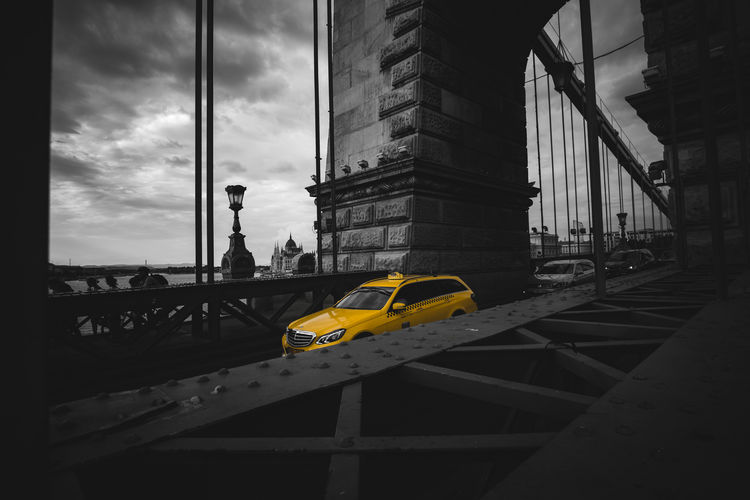 Chain Bridge Black & White Budapest City Hungary Taxi B&w Blackandwhite Bridge - Man Made Structure Chain Bridge Selective Color Street First Eyeem Photo