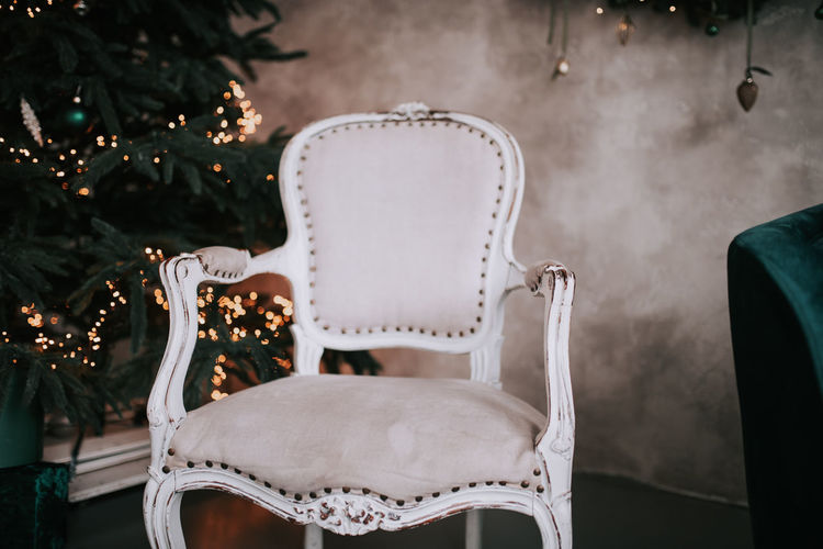 Close-up of white chair
