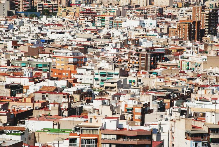Alicante houses Urban Costa Blanca SPAIN Spanish Crowd Architecture Backgrounds Full Frame Built Structure Building Exterior City Building Cityscape Crowded Day Community High Angle View Travel Destinations Residential District Outdoors Multi Colored Sunlight