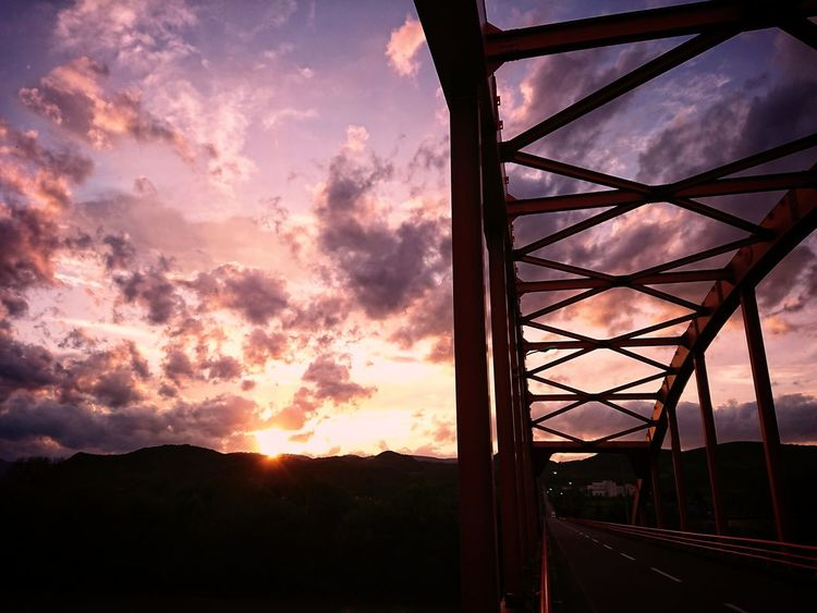 today's sunset💜 Sunset Silhouette Sky Cloud - Sky No People Outdoors Nature Beauty In Nature Roadsidephotography Straight Hokkaido Naturephotography Black_chica1709 Sunsetsky Skyscape Chica's Sky Landscape Bridge View Bridge Photography Sunset Silhouettes The Week On EyeEm EyeEmNewHere