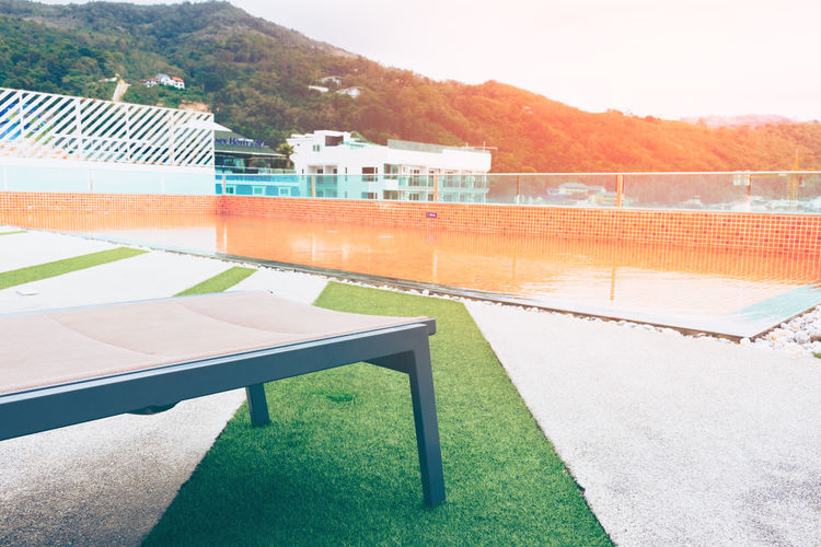 Bed Built Structure Clear Sky Day Mountain Nature No People Outdoors Pool Relax Sky Sport Sundeck Swimming Pool Water