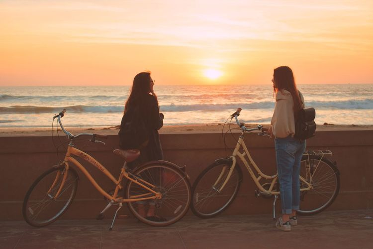 Mission Beach Vibes SD,CA Beauty In Nature Horizon Over Water Bicycle Sea Sunset Travel Beach People Scenics Two People Cycling Travel Destinations Healthy Lifestyle Outdoors Vacations Beautiful Woman Sandiego Sandiegophotos California Missionbeach