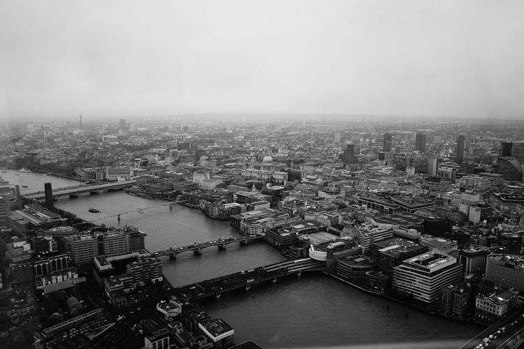 Aerial View Architecture Black And White Blackandwhite Bridge - Man Made Structure Building Exterior City Cityscape Day Ferris Wheel Outdoors Sky Sony SONY A7ii The Shard, London Travel Destinations Urban Skyline Water EyeEm LOST IN London