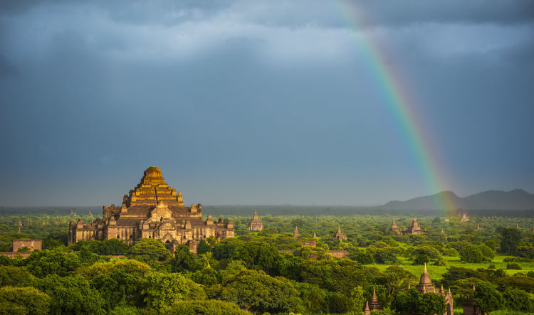 Rainbow over Bagan temples Bagan, Myanmar Bagan Myanmar Temple Temples Sky Rainbow Beauty In Nature Scenics - Nature Cloud - Sky History Built Structure Tree Mountain Religion Ancient Civilization No People Nature Architecture Day Stunning Awesome Inspiration Landscape Travel Destinations