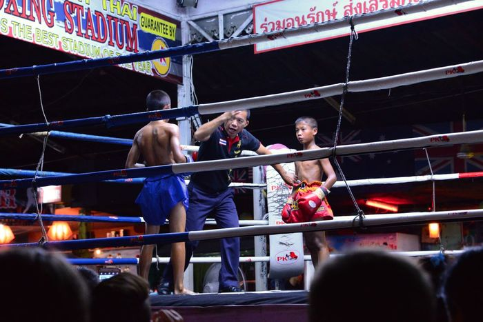 Colorful Family Vacation Night Train River Kwai Cemeta Thai Boxing  Thailand
