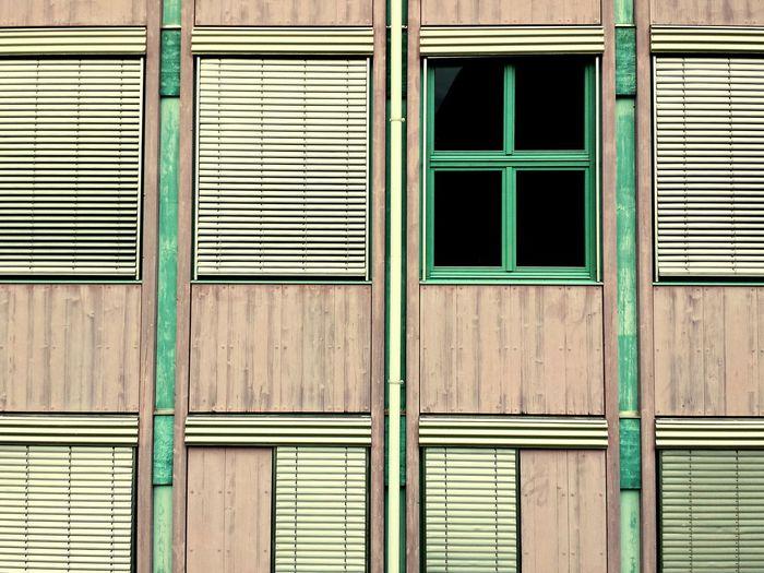 Full frame shot of closed windows on building