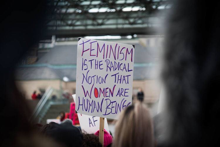Feminist sign being held up in women's march.