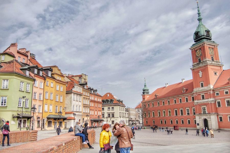 Warsaw old town Architecture Travel Destinations People Clock Large Group Of People Warsaw Warsaw Old Town Poland Europe Historic History Statue Building Exterior Tourism Outdoors Crowd