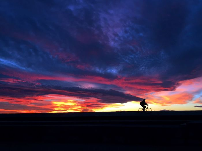Sunset Silhouette One Person Cloud - Sky Sky Nature Beauty In Nature Scenics Lifestyles Tranquil Scene Outdoors Bike Biking