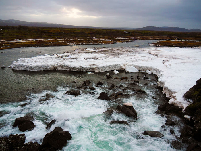 Beauty In Nature Cold Temperature Day Iceland Landscape Nature Nature No People Outdoors River River View Riverside Scenics Sky Snow Water