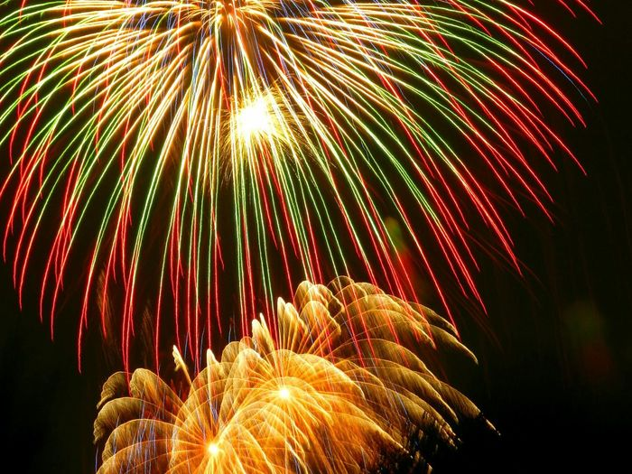 Low Angle View Of Colorful Fireworks At Night