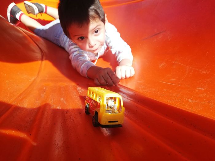 High angle view of toy car
