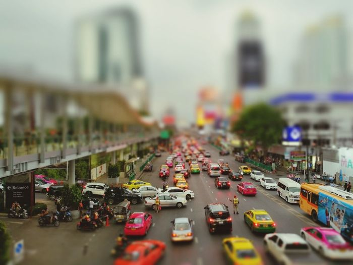 Model city Road Cars Traffic Traffic Jam People City Street Modelcar Thailand