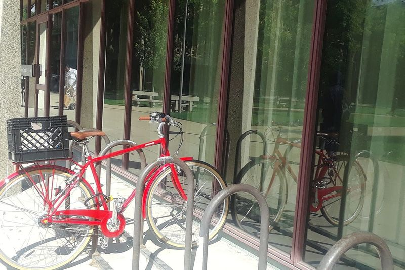 red bicycle on UIC campus City Red Bicycle Bicycle Rack Land Vehicle Architecture Locked