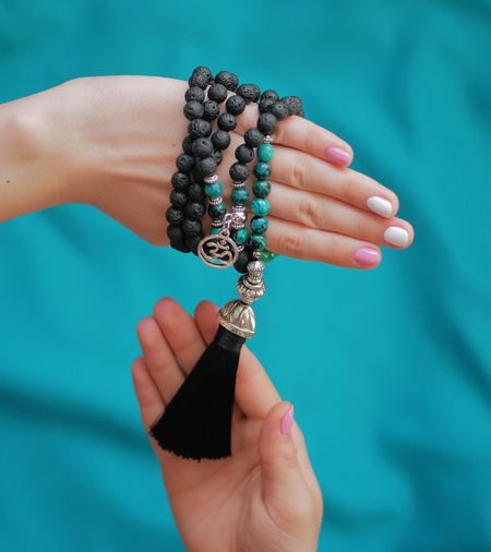 Human Hand Human Body Part Holding Close-up One Person Real People Indoors  Day People Mala Japamala Beads Lava Handmade OM God Rosary Buddhism