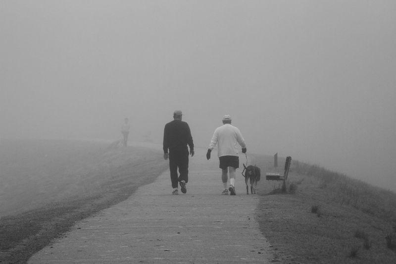 Rear View Of Men Walking On Road Against Sky