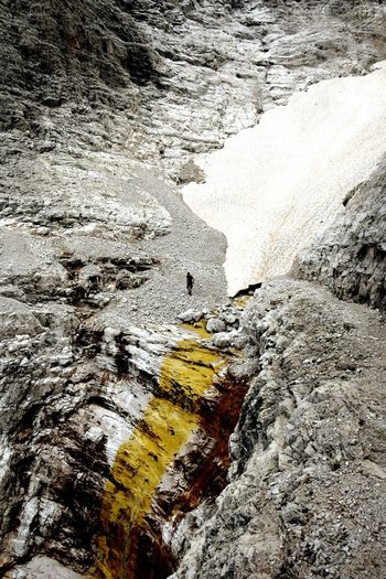 Mountain Glacier Ice Hikingadventures Grey And Yellow Rock Formation South Tyrol, Dolomites Dolomites, Italy Klettersteig Water Puddle Oil Spill Beach Backgrounds Full Frame Close-up