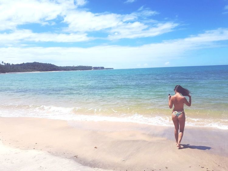 Back Human Back Sea Full Length Wave Beach Sand Young Women Water Standing
