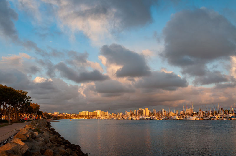 Spanish Landing Park West Cloud - Sky Sky Water Architecture Building Exterior Built Structure City Nature Building Sea No People Waterfront Sunset Cityscape Outdoors Scenics - Nature Beauty In Nature Urban Skyline
