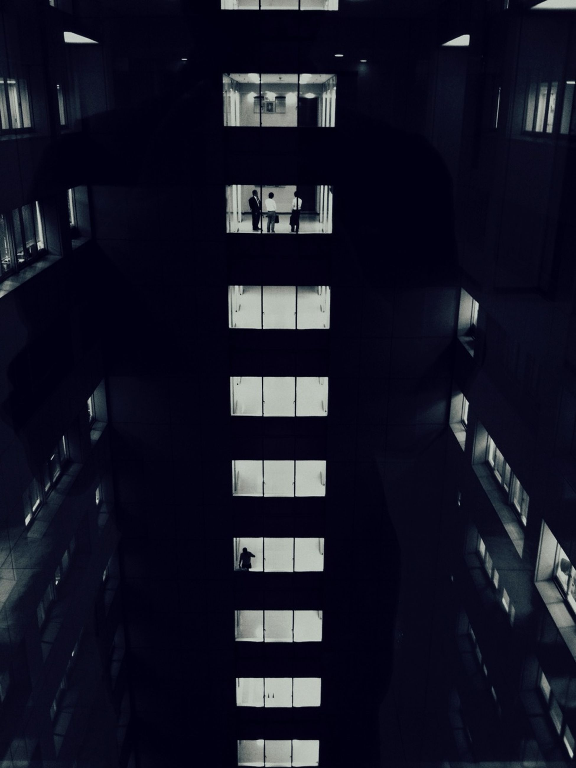 architecture, built structure, indoors, window, building exterior, building, city, reflection, illuminated, balcony, night, modern, sunlight, residential building, residential structure, dark, apartment, no people, glass - material