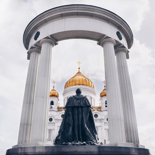 Czar alexander ii statue against temple of christ the savior