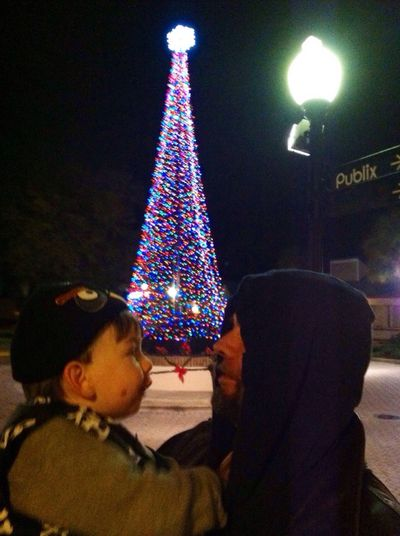 Everyday Joy A father and son moment Father And Son Holiday Pic Night Silhouette In Front Of Christmas Tree