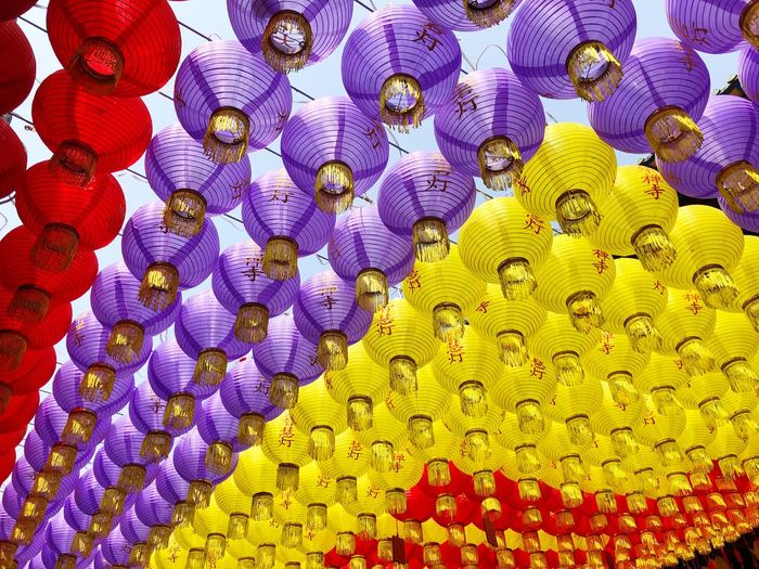 Full frame shot of colorful chinese lanterns hanging outdoors