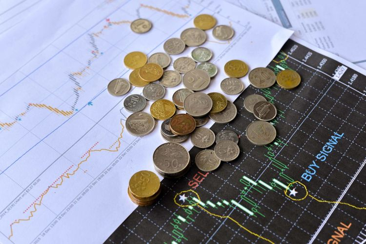 Mixed Malaysian Ringgit coins on financial graph background. Business concept. Bitcoin and Forex trading investment concept. Chart Close-up Coin Currency Day Finance High Angle View Indoors  No People Savings Wealth
