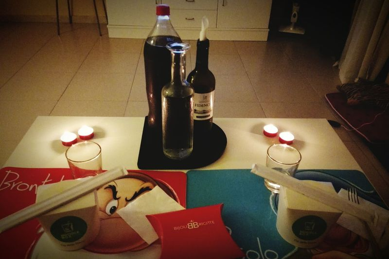 HappyValentinesDay❤ Love ♥ Adults Only Relaxing Home Sweet Home ♥ Presents Table Drinking Glass No People Alcohol Drink Picoftheday Life Calm Loveyouman Santa Cruz De Tenerife Women Men Wine Coke Water Candle Romantic❤ Evening EyeEm Gallery