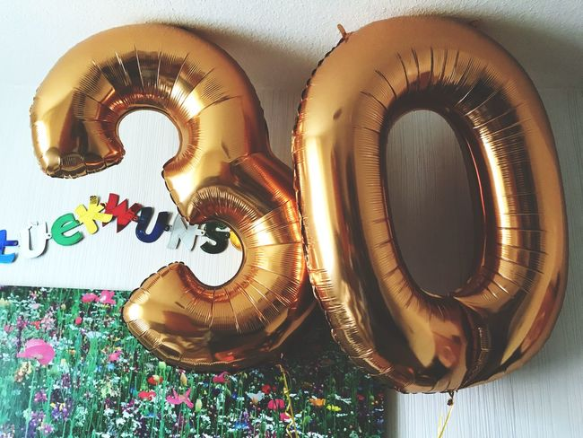 EyeEm Selects Indoors  No People Close-up Day 30thBirthday Balloons Gold Colored Numbers