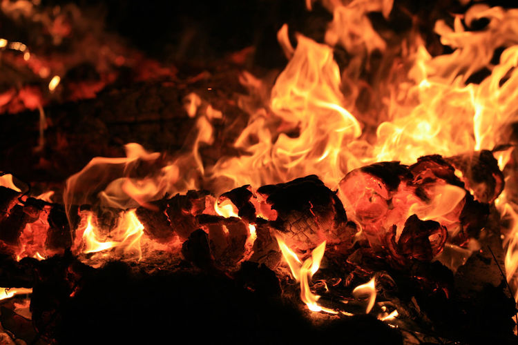 Hot, glowing pieces of a log in a fire at night time. Black Bonfire Burning Campfire Close-up Dark Darkness Field Fire Fire - Natural Phenomenon Fire Angel Firewood Flame Flame Glowing Heat Heat - Temperature Hot Log Night Orange Outdoors Red Yellow