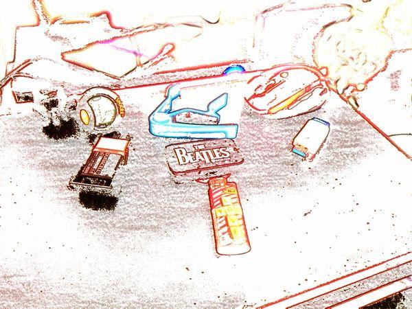 LOVE YOU Sketch Doodle Communication Paper Technology Multi Colored Internet Wireless Technology Desk Art Desktop Desk From Above Guitar Tuner Guitar Capo Battery Laptops Lighter Mouse USB USB Flash Drive Break The Mold