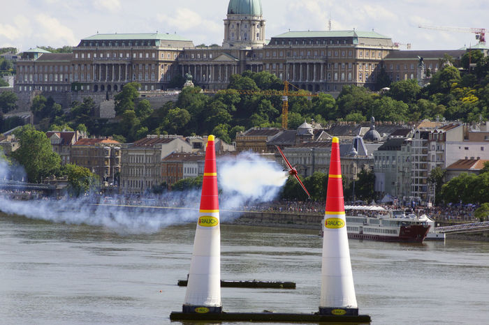 Red Bull Air Race Budapest 2017 Air Race Airplane Architecture Building Exterior Built Structure City Day Motion No People Outdoors Sky Spraying Tree Water