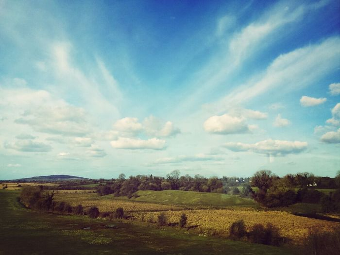 View from the train, just outside Newbridge train station.. Clouds And Sky Sky_ Collection