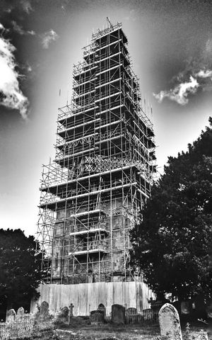 Church under renovation - instead you can enjoy scaffolding... No People Low Angle View Blackandwhite Black And White Photography Scaffolding Building Exterior Built Structure Development Tall - High Architecture First Eyeem Photo Tower Black&white Black And White Collection  Cemetery Black And White Collection  The Magic Mission Hdr Snapseed Welcome To Black