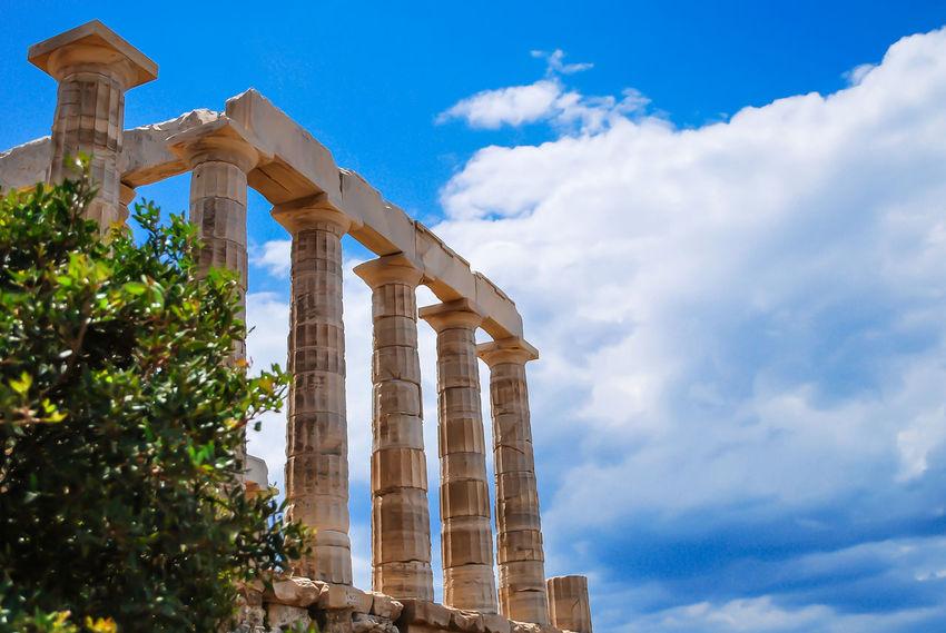 Temple of Poseidon at Sounio.. Architecture Blue Blue Sky City Cityscape Cloud - Sky Day Greece No People Outdoors Sky Sounio Sounion Sunlight Travel Travel Destinations Tree