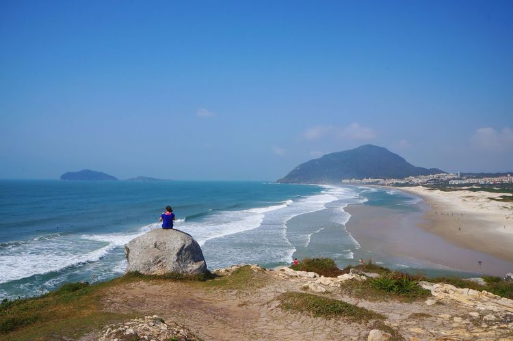 Blue Beach Sea Sand Horizon Over Water One Person People Water Vacations Day Adults Only Beauty In Nature Nature Sky Full Length Only Women Adult Brasil ♥ Sul Florianópolis South Con6 Beautiful Blue Beachphotography Beach Photography Connected By Travel