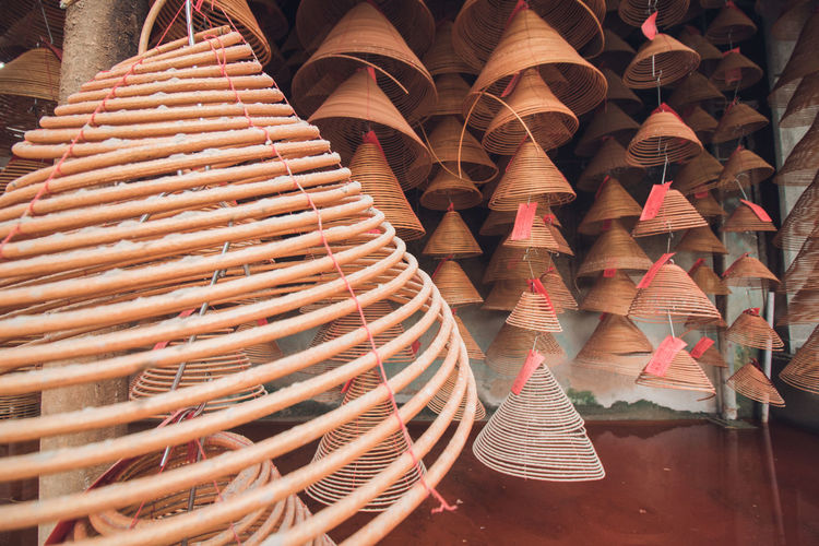 Coiled incenses for sale in market