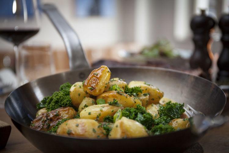 Potatoes in cooking pan