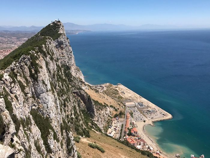 rock of gibraltar Mountain Sea Scenics Nature Beauty In Nature High Angle View Water Day Tranquility Tranquil Scene Outdoors Cliff Rock - Object No People Mountain Range Sky Built Structure Architecture Building Exterior Horizon Over Water