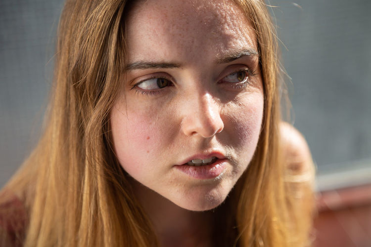 Close-up portrait of a beautiful young woman