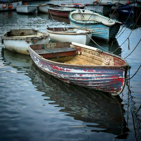 Boats Boat England🇬🇧 Mevagissey Cornwall Harbour Port Water Reflections Water Reflection Colourful Rope Old